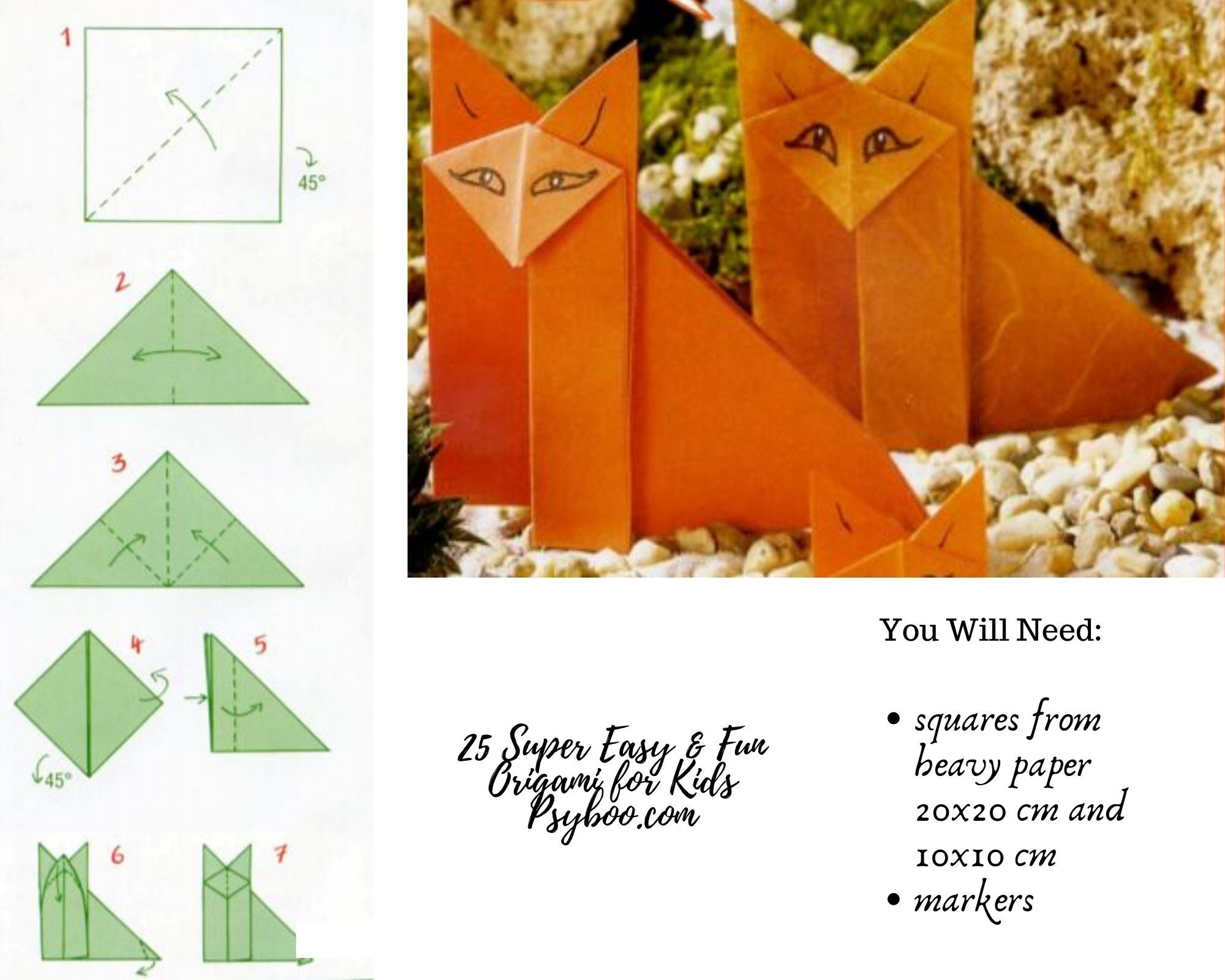 Origami Little Foxes In