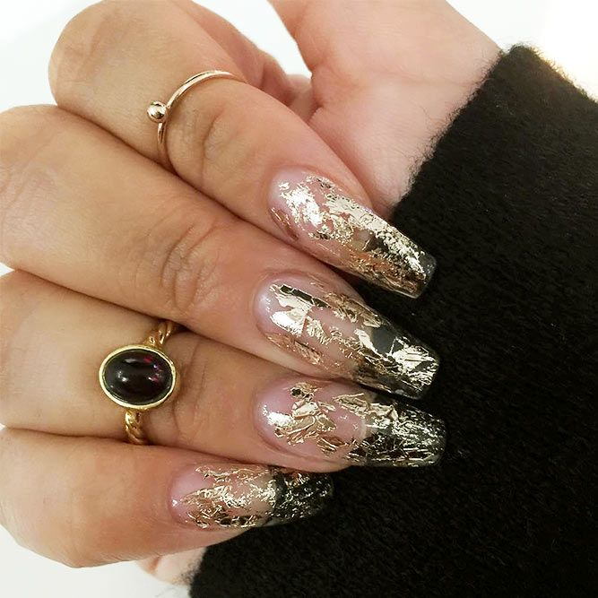 21 Stunning Gold Foil Nail Designs To Make Your Manicure Shine