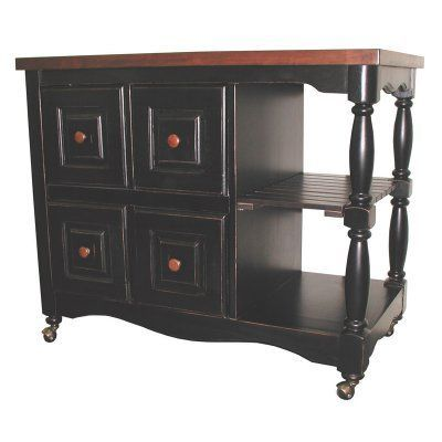 Sunset Trading Titania 4-Drawer Kitchen Cart - DCY-CRT-03-BCH