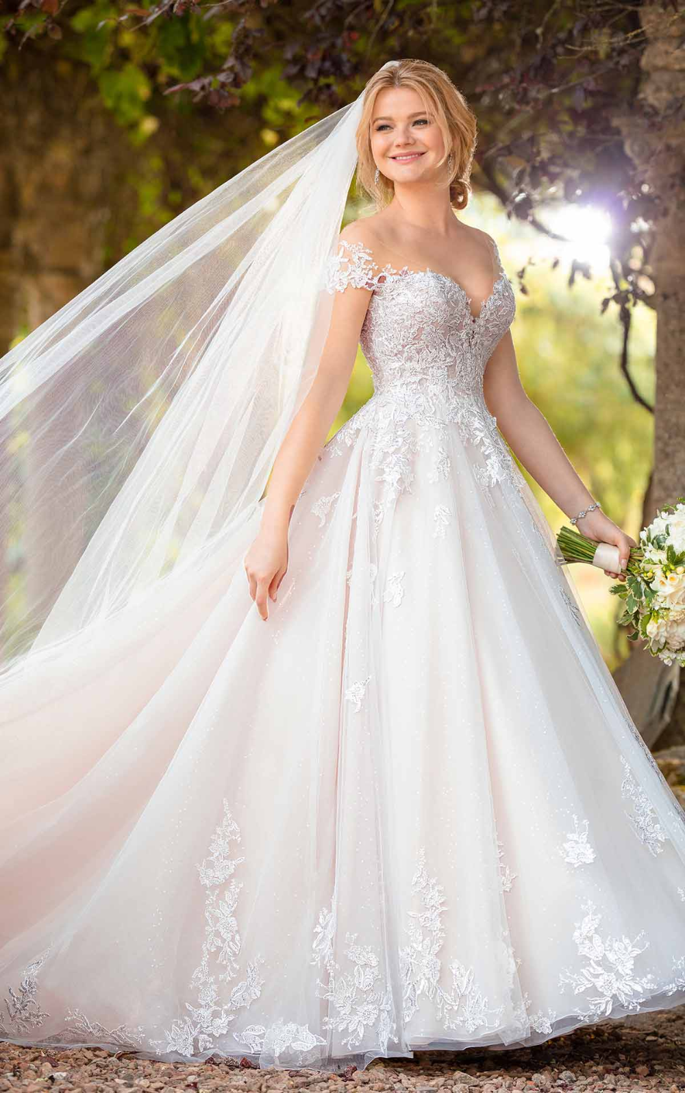 Romantic Ballgown with Off-the-Shoulder Cap Sleeves –