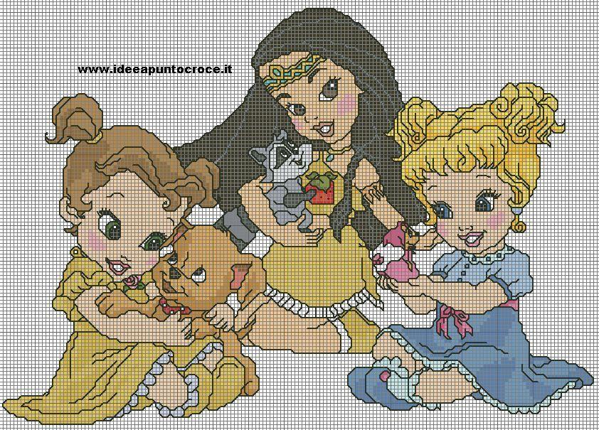 Bambini Disney ~ Principesse disney punto croce disney pinterest principesse