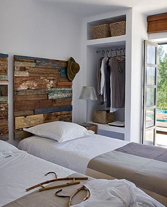Cabezal de cama hecho con madera reciclada cabeceros - Cabeceros hechos con palets ...