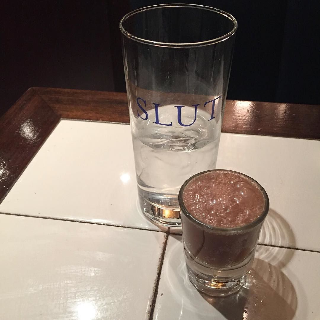 Lovely NYC Diner Buyback Shot. #chocolatesoda #badgirlbarware #buyback #shots  #waterglass