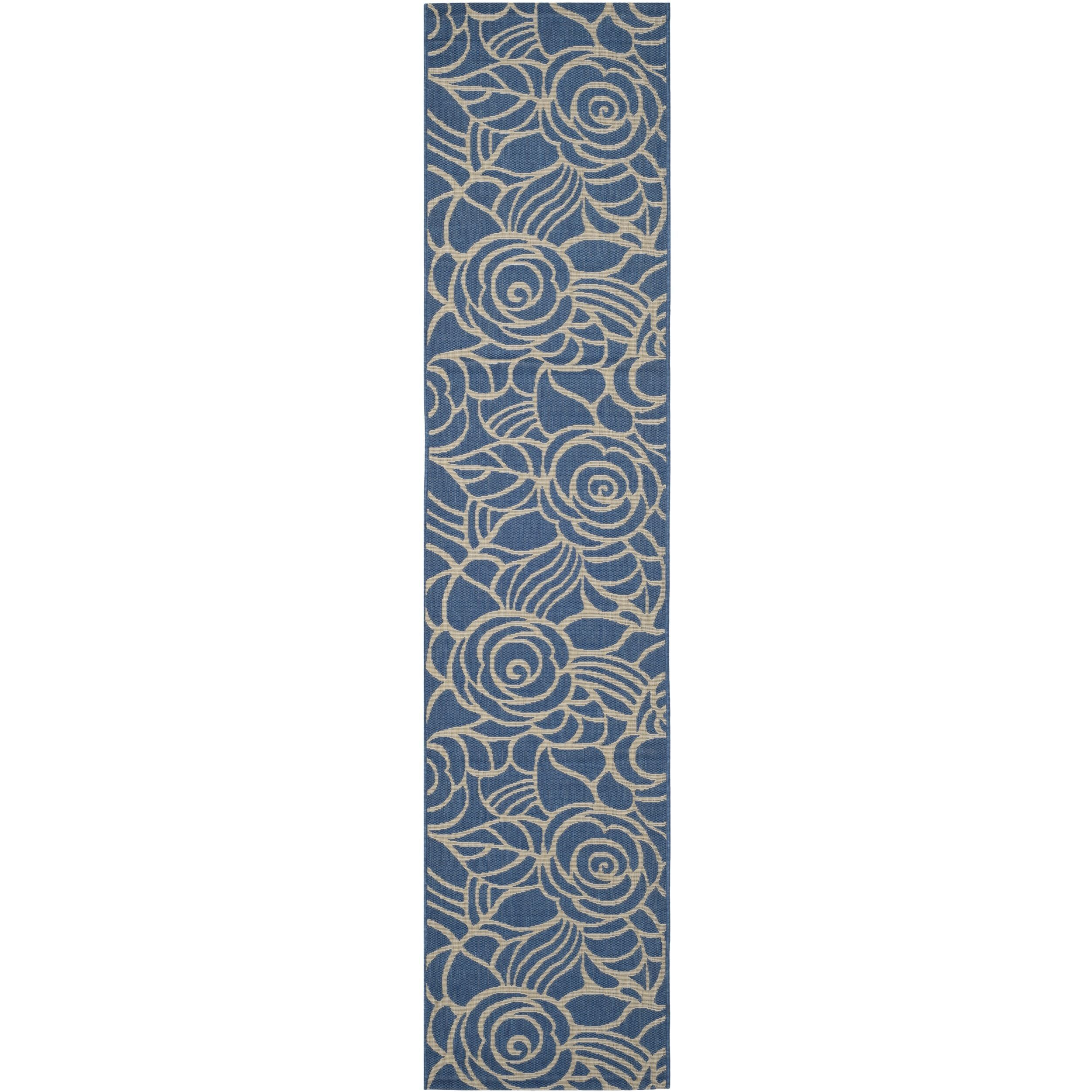 Safavieh Indoor/ Outdoor Courtyard Blue/ Beige Rug (2'4 x 12') (CY5141C-212), Size 2'4 x 12' (Olefin, Geometric)