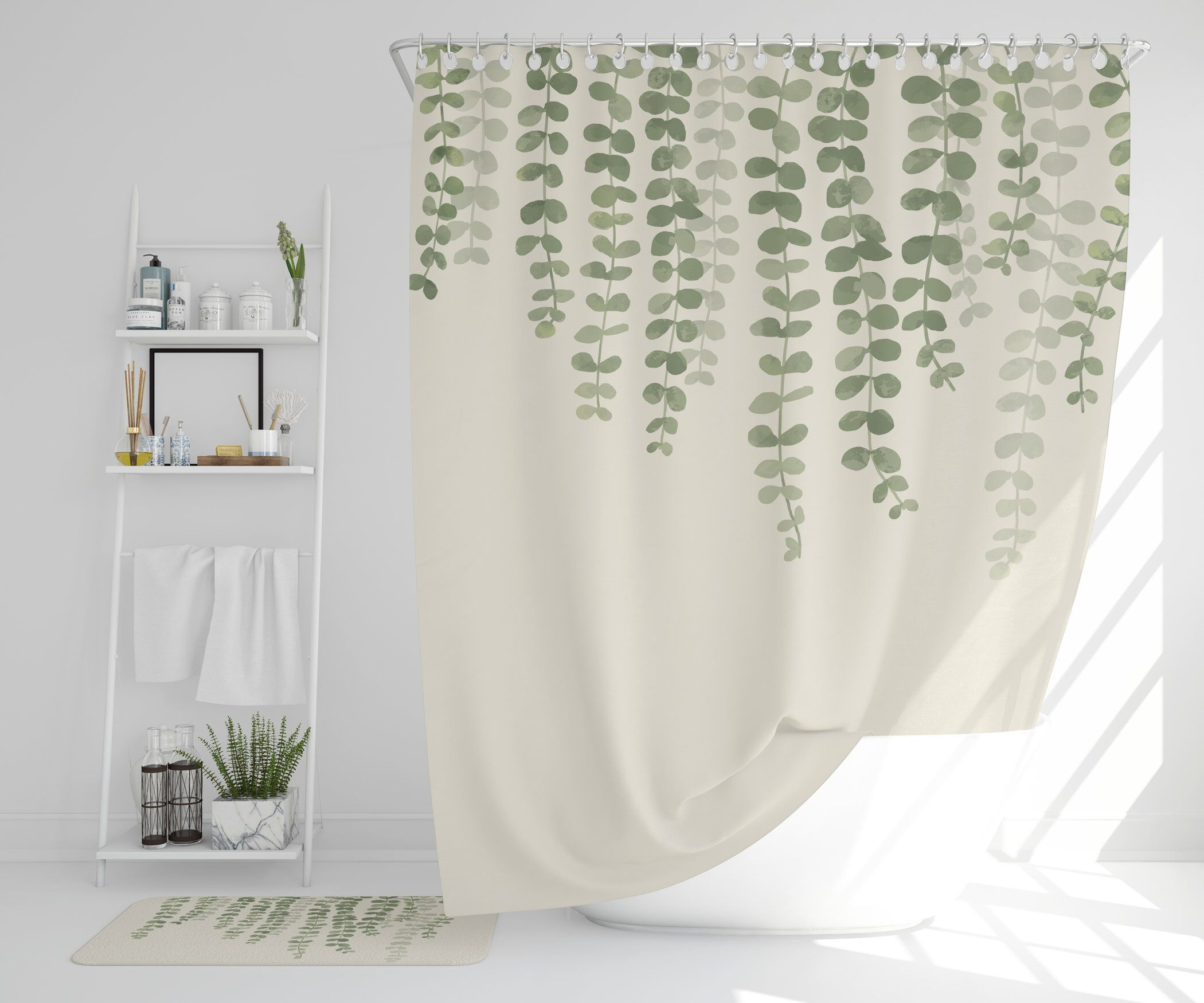 Eucalyptus Hanging Vine Curtain Green Vines Shower Curtain Etsy