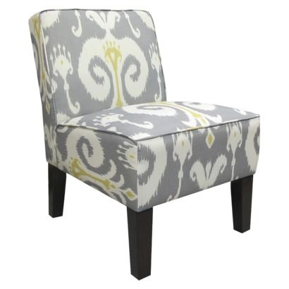 Armless Upholstered Slipper Accent Chair Grey Gold Ikat Opens In