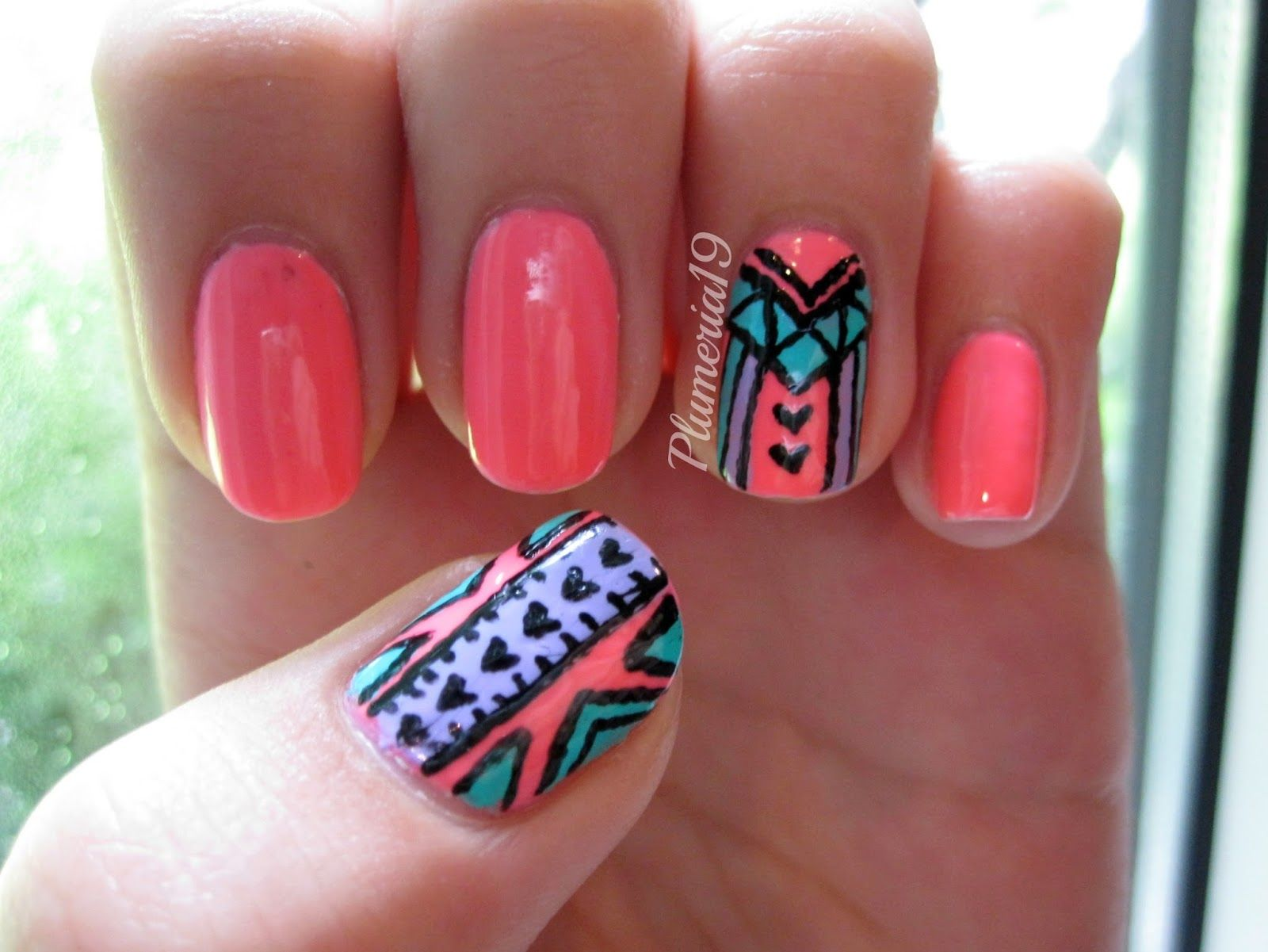 Really-Cute-Nail-Designs-neon-pink-nail-designsplumeriapainted-july ...