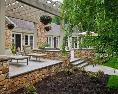 Raised Stone Patio With Wood Pergola Garden Wood Pergola Patio