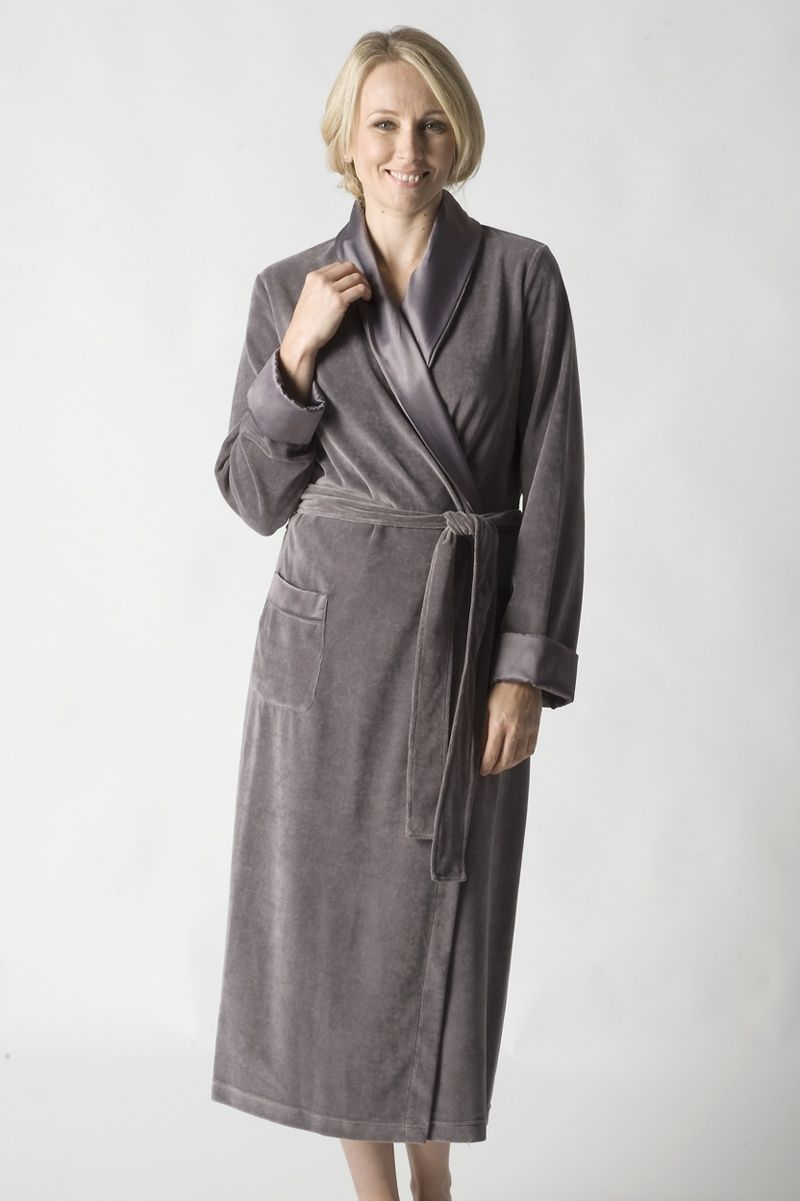 Ladies Slate Grey Cotton Mix Velour Robe  017770c752