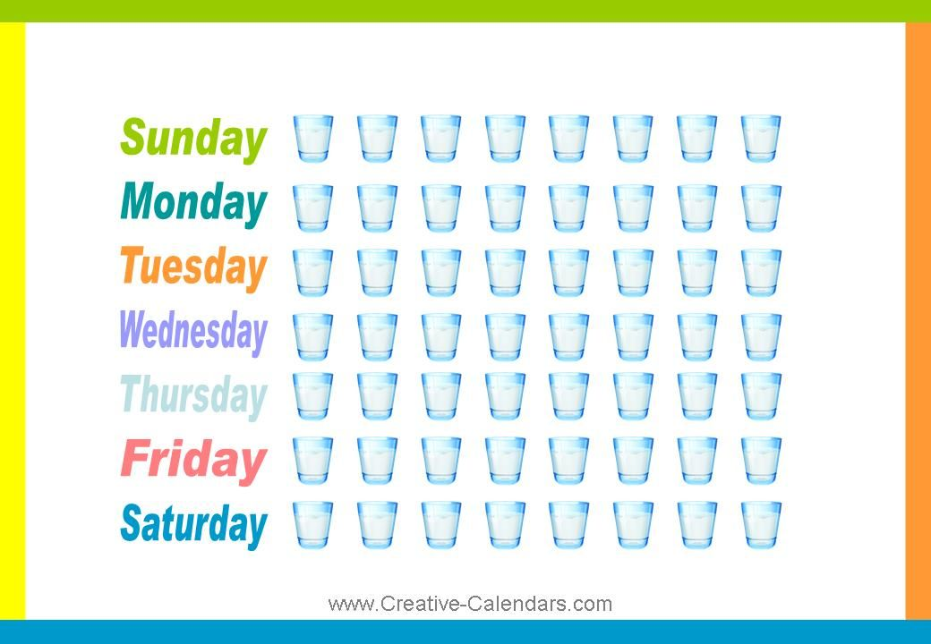 Water-Drinking Chart Tracking drink more water chart Healthy