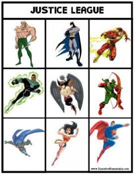 Justice League Bingo Game Free Printable Justice League Party Superhero Crafts Superhero Birthday Party