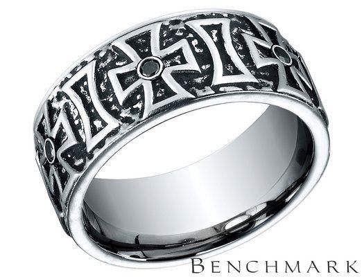Benchmark Men's 9mm Comfort Fit Cobalt Wedding Diamond Band