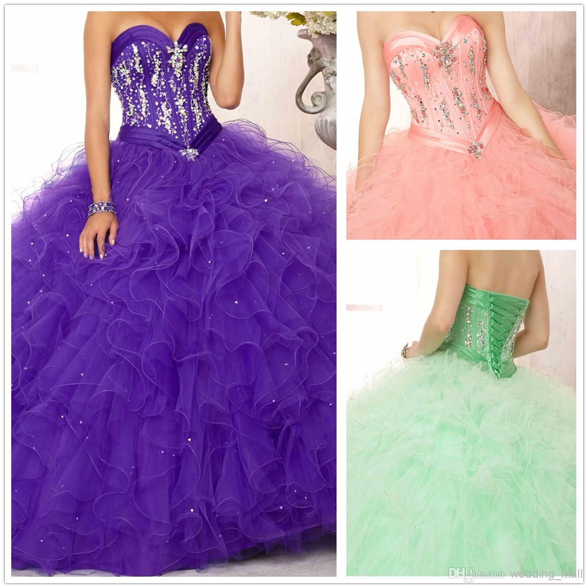 Wholesale Vintage Gold Crystals Organza Ruffles Ball Gown Corset ...
