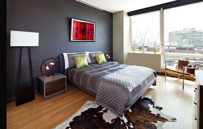 modernes schlafzimmer fellteppich fensterbank dekoideen