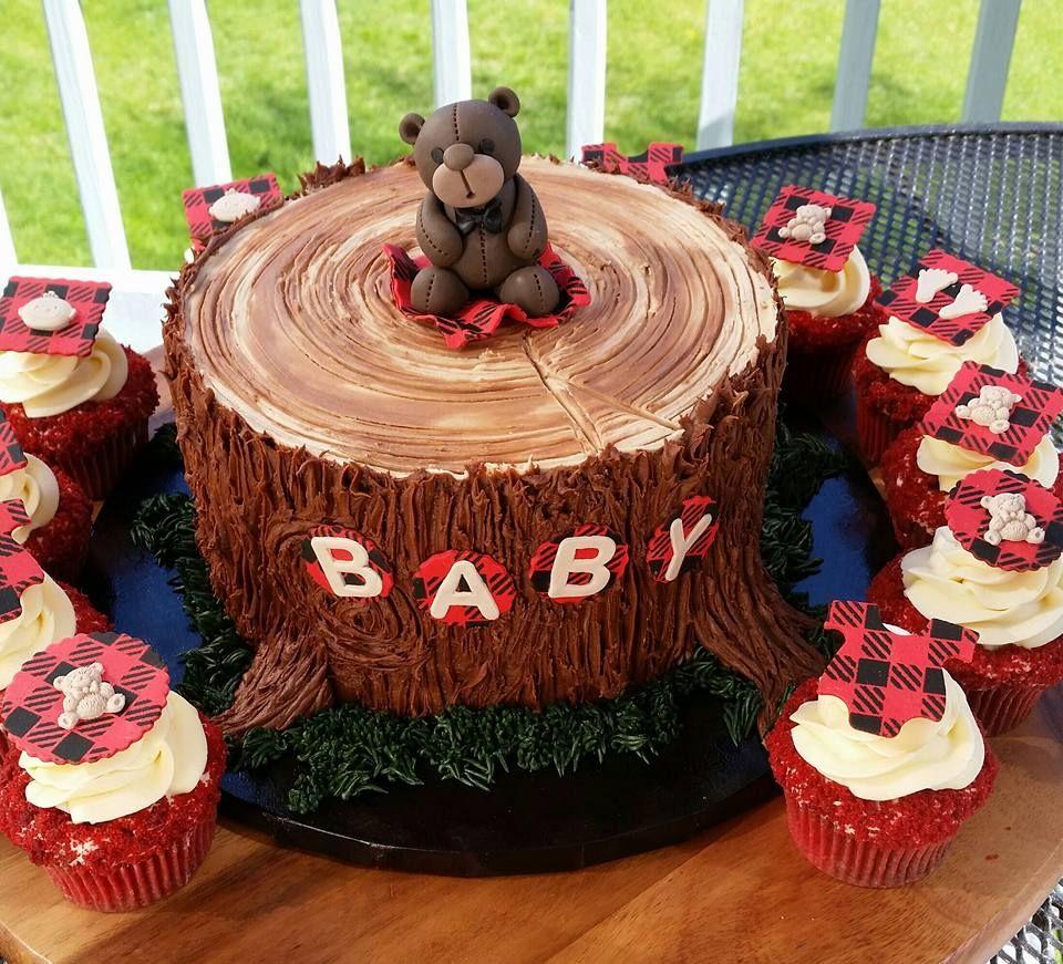 Lumberjack Baby Shower Cake And Cupcakes Lumberjack Baby Shower Cake Baby Shower Cakes For Boys Moose Baby Shower