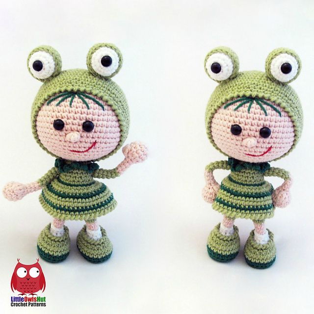 Ravelry: 118 Girl Doll in a frog outfit pattern by LittleOwlsHut ...