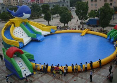 Superior Giant Inflatables Slides With Pool Inflatable Pool Toys