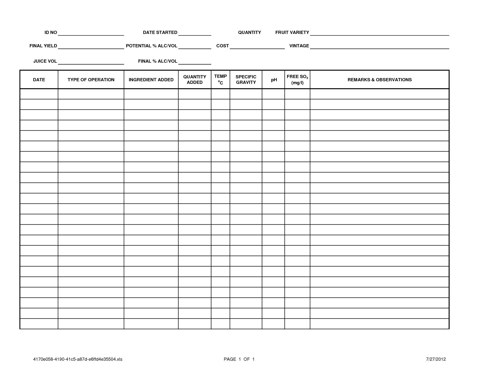 Blank Call Log Sheet Templates