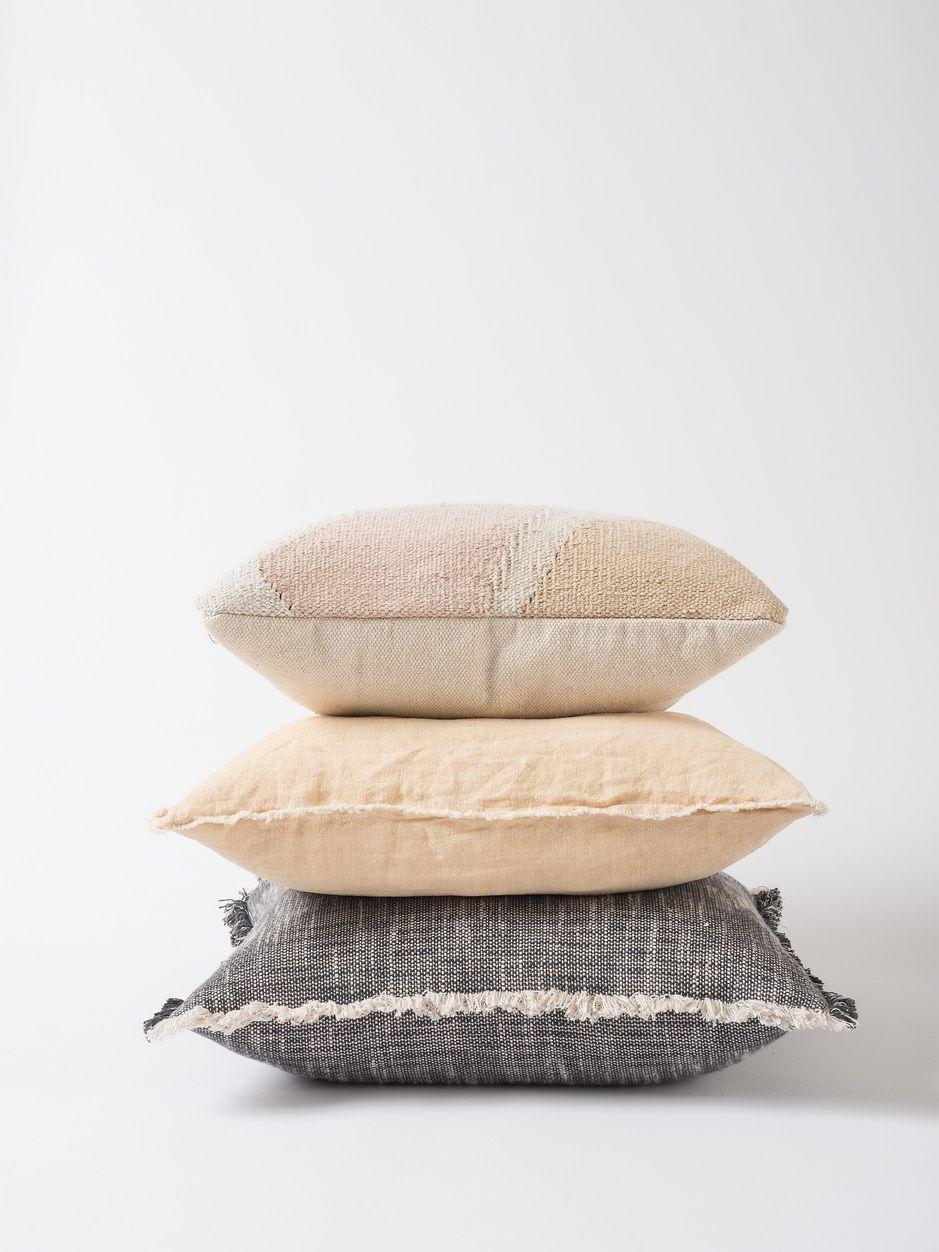 Hand Woven Linen Cushion Cover w/Raw Edge Città