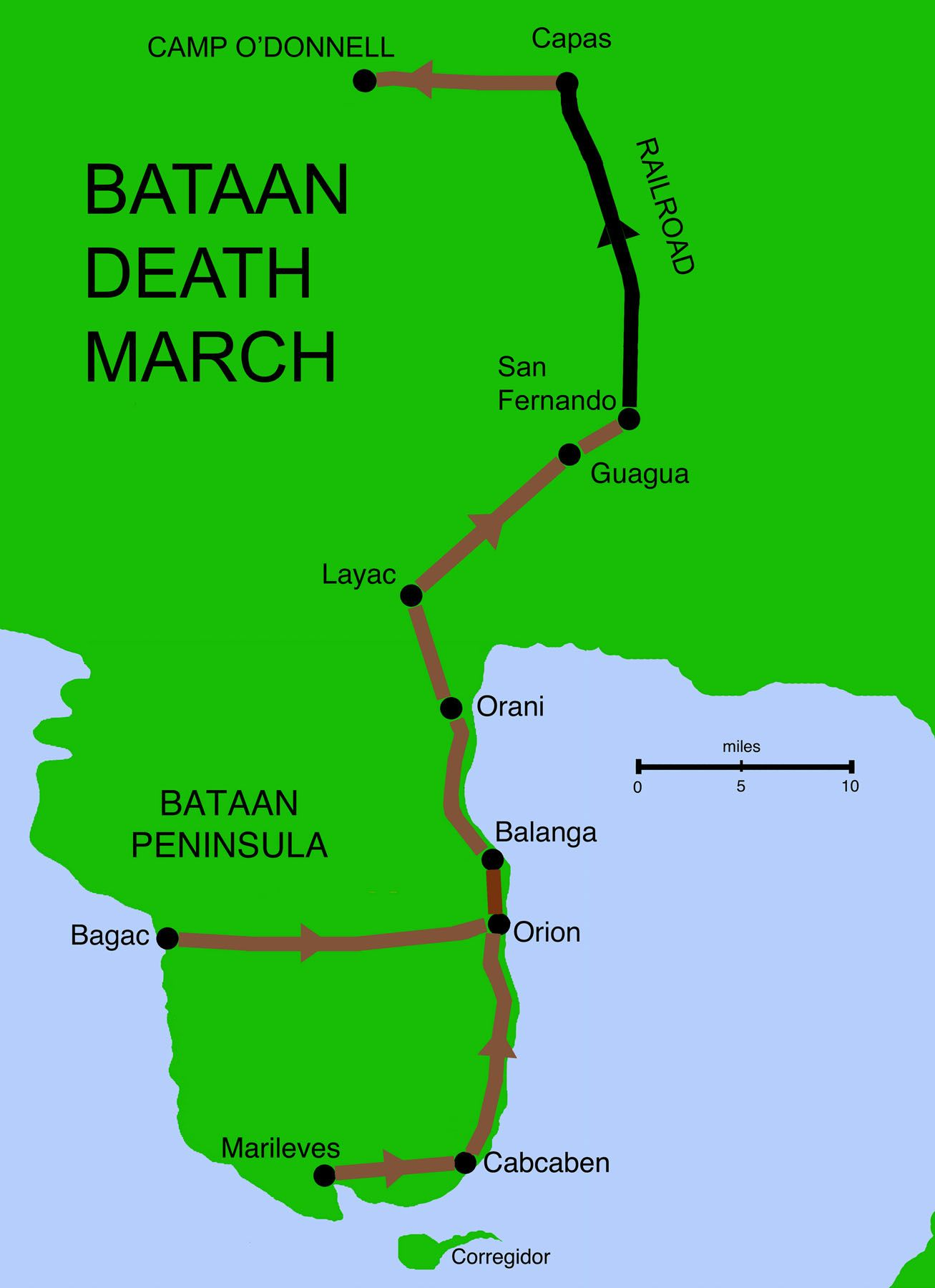 42 maps that explain World War II  Bataan death march Bataan and