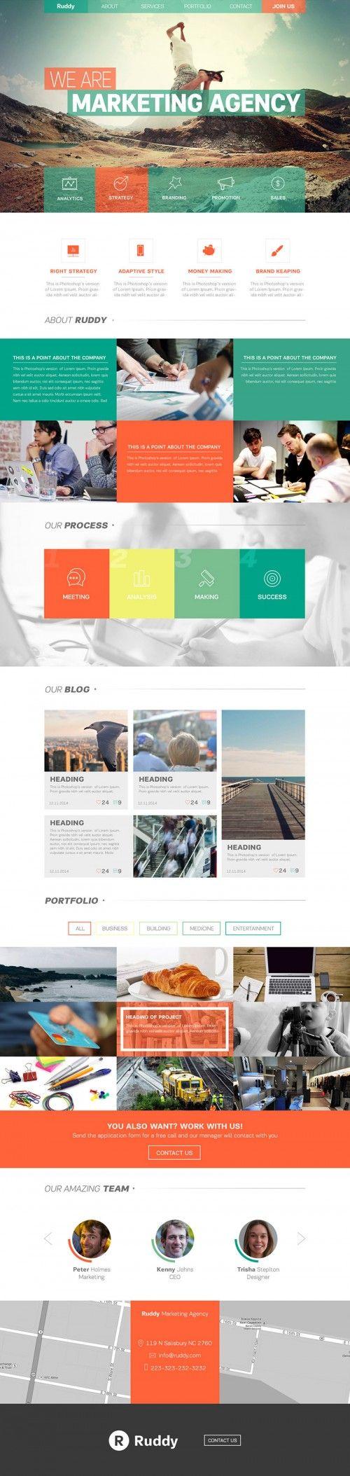 Clean One Page Website Theme PSD | 9 - Web / UI / UX | Pinterest ...