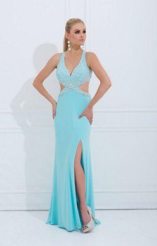 Aqua Beaded Straps Cutout Slit Long Prom Dresses