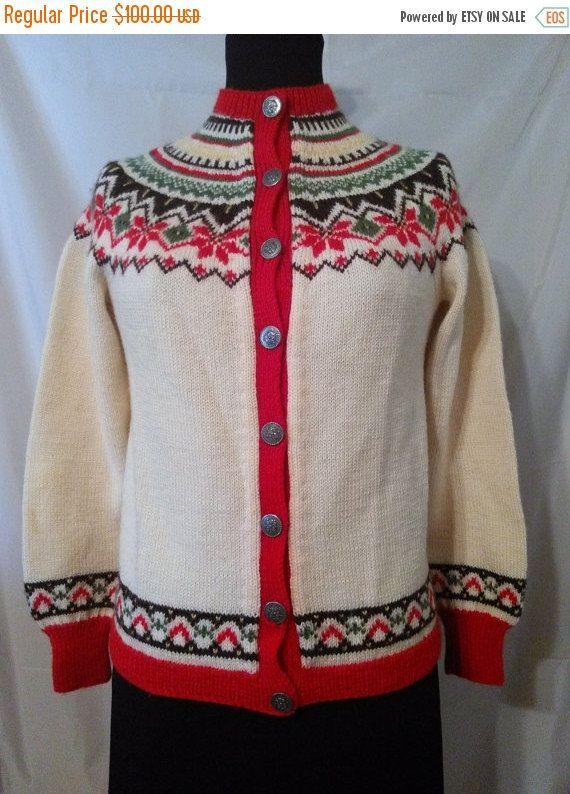 60s Norwegian Wool Alpine Nordic-Fair Isle-Cardigan Sweater-Norway ...