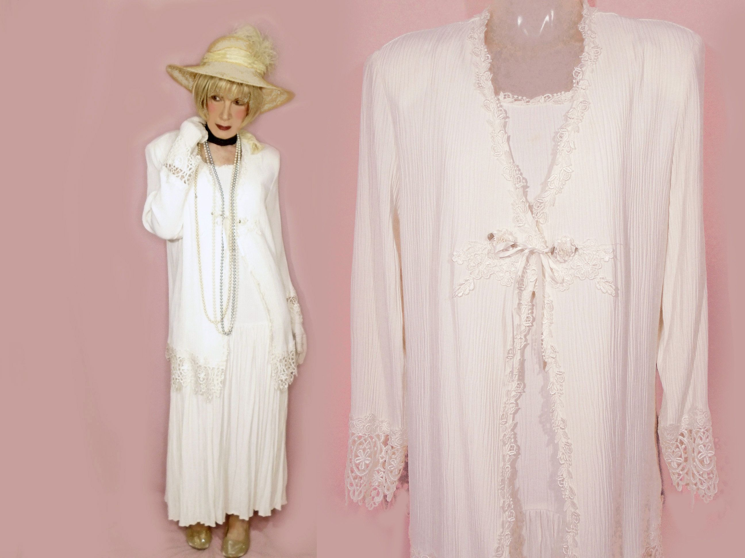 Gatsby Wedding Outfit, 20s Style Vintage White Loose Rayon
