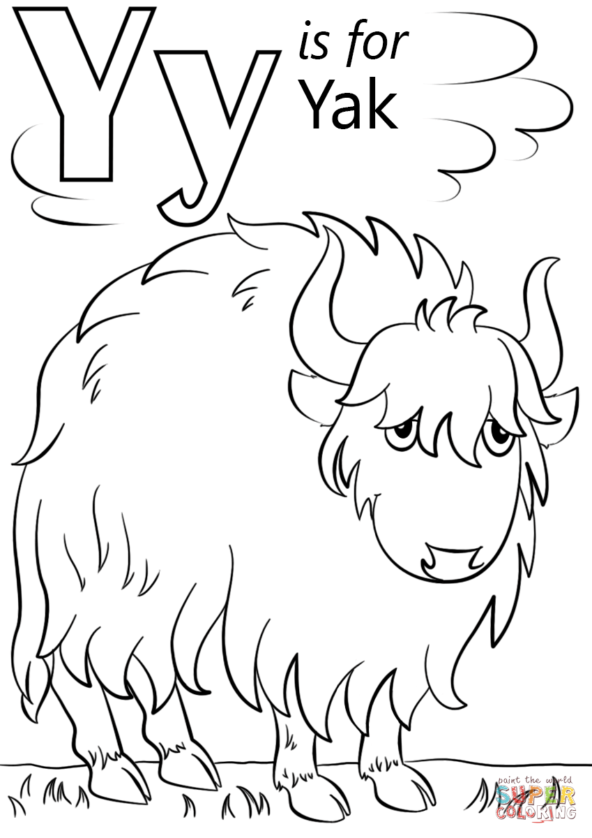 Letter Y is for Yak Super Coloring 01Coloring ABCY Coloring Page