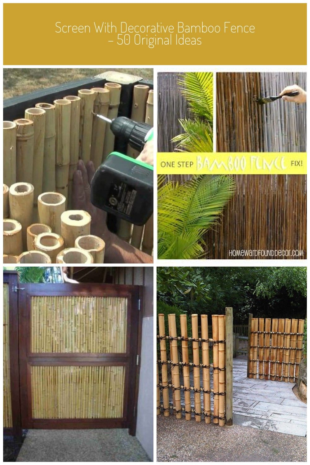 Screen with decorative bamboo fence  50 original ideas fence Screen with decorative bamboo fence  50 original ideas