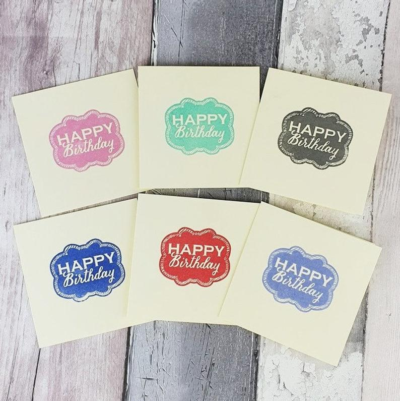 Handmade Happy Birthday Cards Pack Of Colourful Cute Mini Etsy Happy Birthday Cards Cute Birthday Cards Birthday Cards