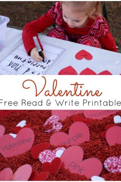 FREE Valentine Printable Read & Write with a Sensory Bin