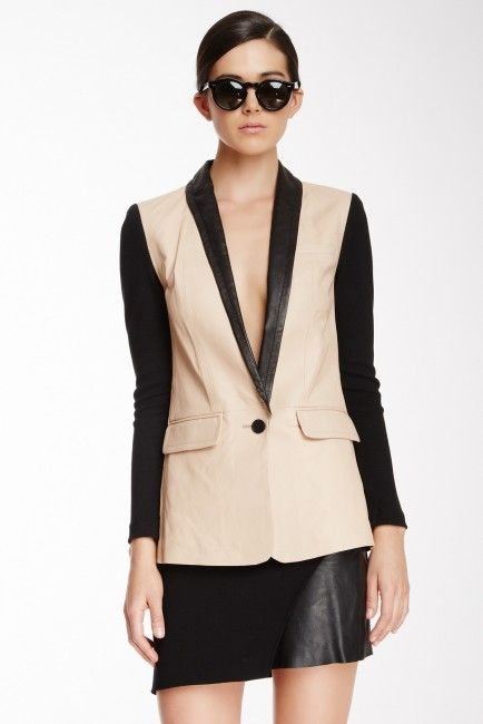 Yigal Azrouel Textured Colorblock Leather Blazer