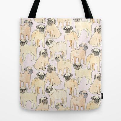 Pugs Tote Bag by Sian Keegan.