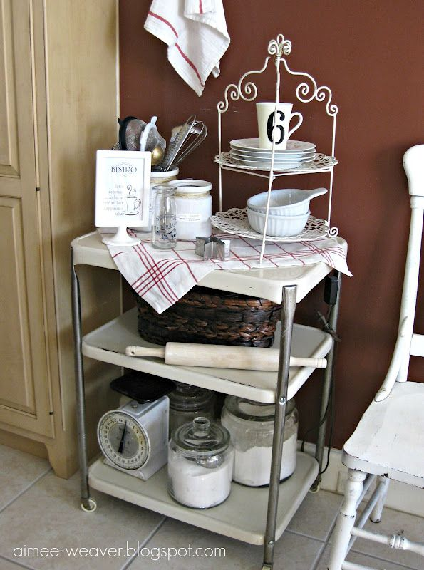 Baking cart using canisters from IKEA, Goodwill, etc.
