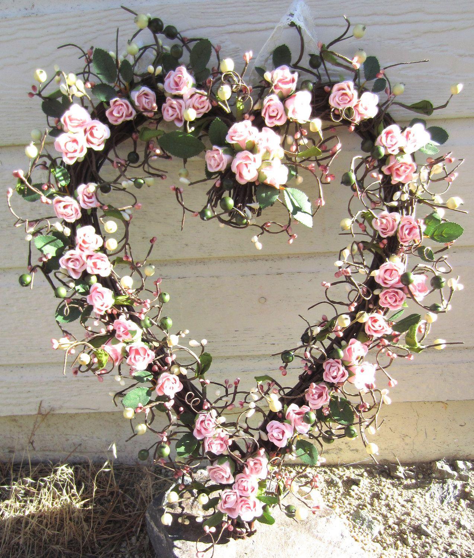 Heart Shaped Wreath - Pink Roses - Front door decor  via Etsy.