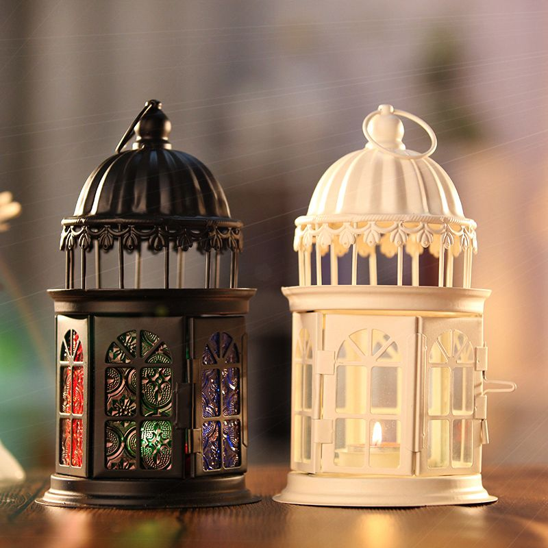 Romantic Moroccan Metal Hanging Lanterns Candle Stands Holder