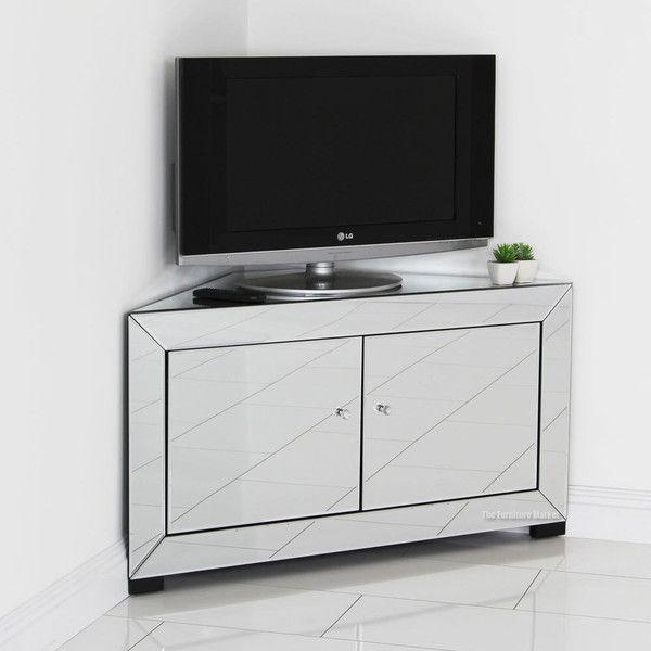 Venetian Mirrored Corner Tv Cabinet, Mirrored Glass Corner Tv Stand
