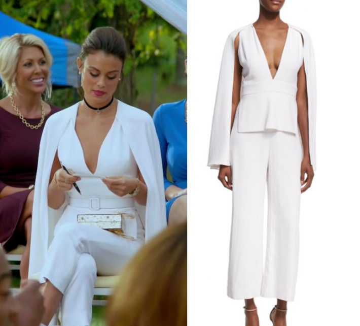 544826ad641c 1x05 Cristal Flores (Nathalie Kelley) wears this white v neck split arm  cape jumpsuit in this episode of Dynasty