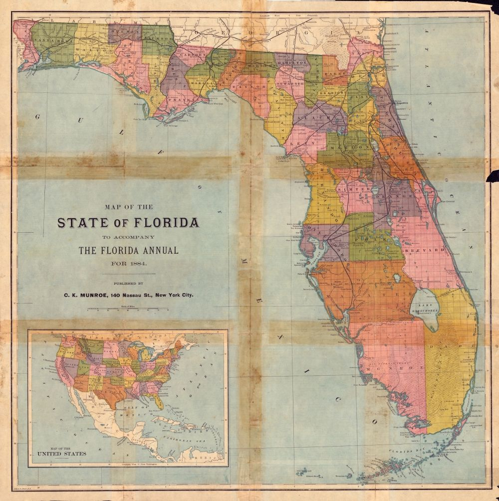 Florida Annual Map From  That Includes The Grid County - Railway map usa 1890