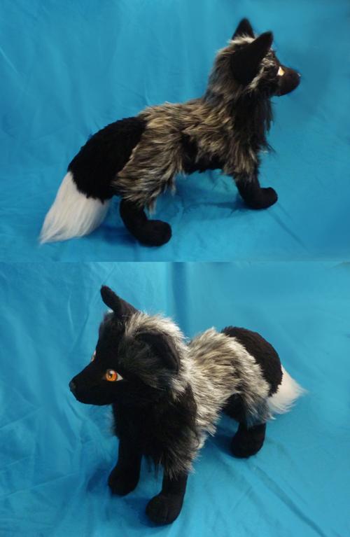 Silver Fox Stuffed Animal, Silver Fox Plush Finished Fox Plushie Fox Plush Silver Fox
