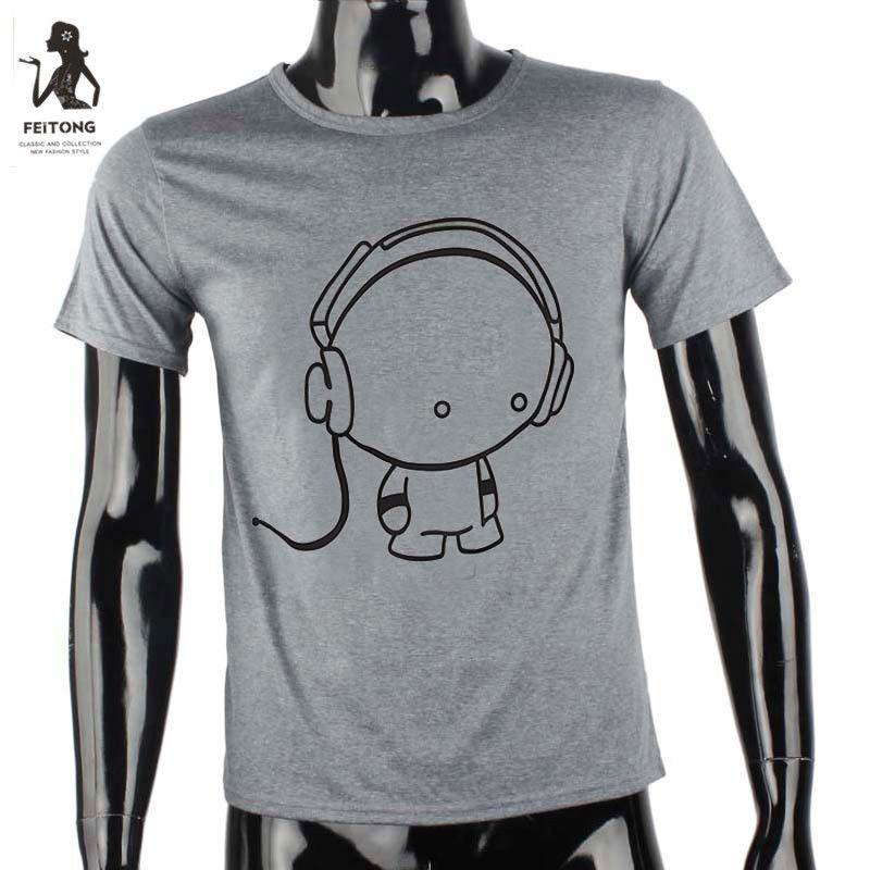 >> Click to Buy << Feitong Summer Casual T-shirt Men Fashion Men's Boy Tops Tees Shirt Cotton Short Sleeve Clothes Earphone Print Camiseta Hombres #Affiliate