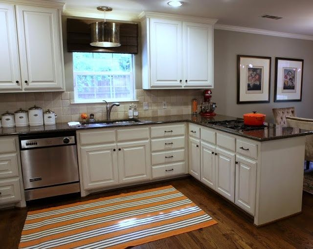 Best Favorite Dark Floors Cream Cabinets Gray Walls Granite 400 x 300