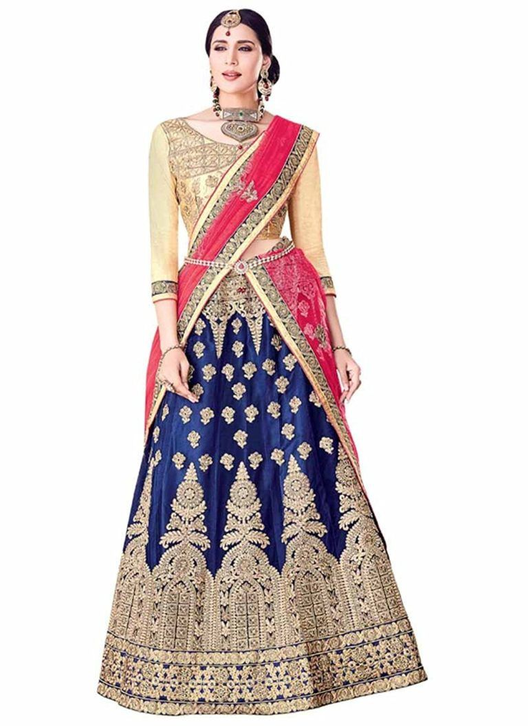 b4145dac613 BLUE AND PINK MIXED COLOR COMBO LEHENGA UNDER RS 5000
