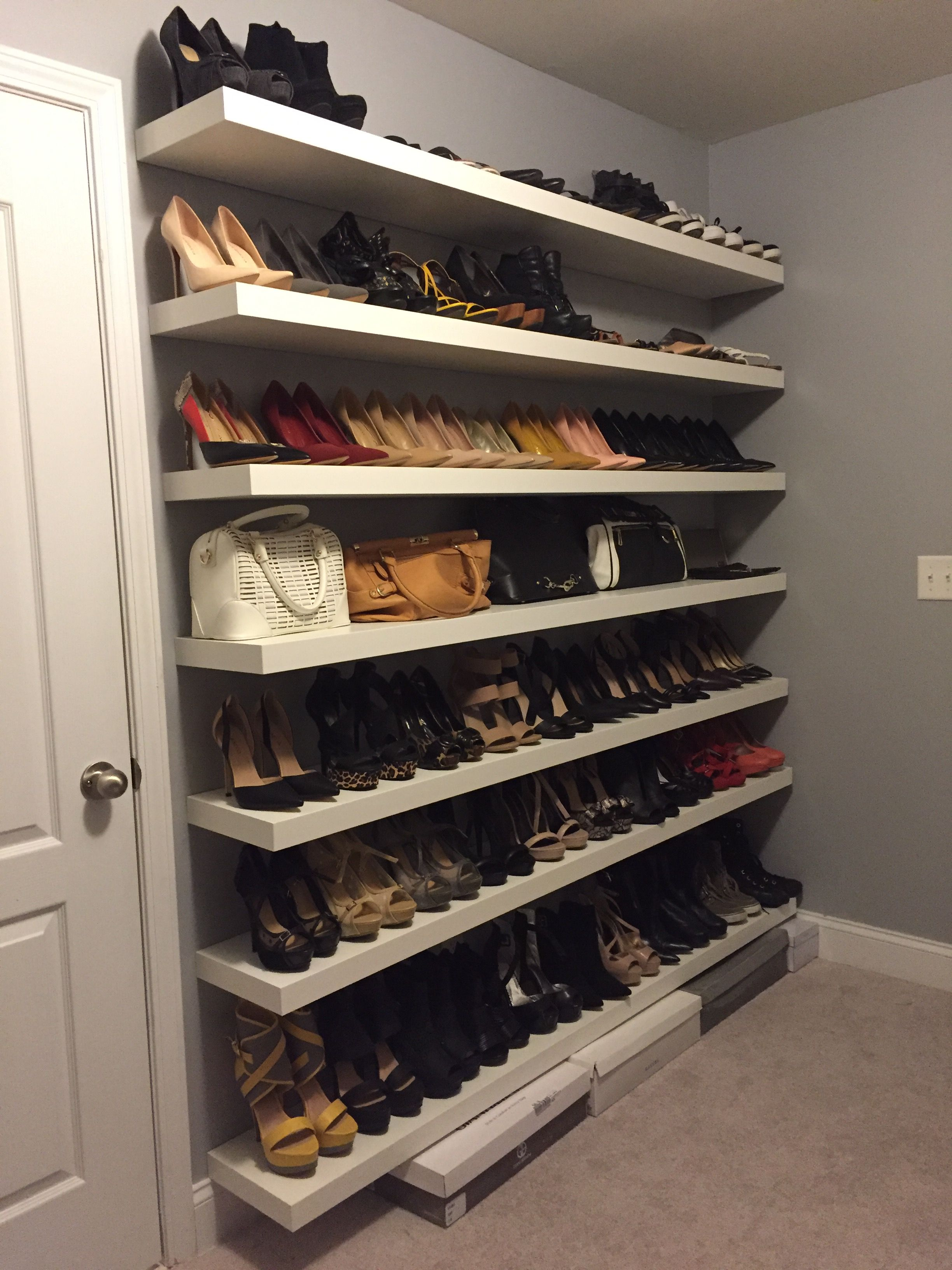 New Shoe Shelves Installed And Walls Painted Grey Diy Bree Kemp