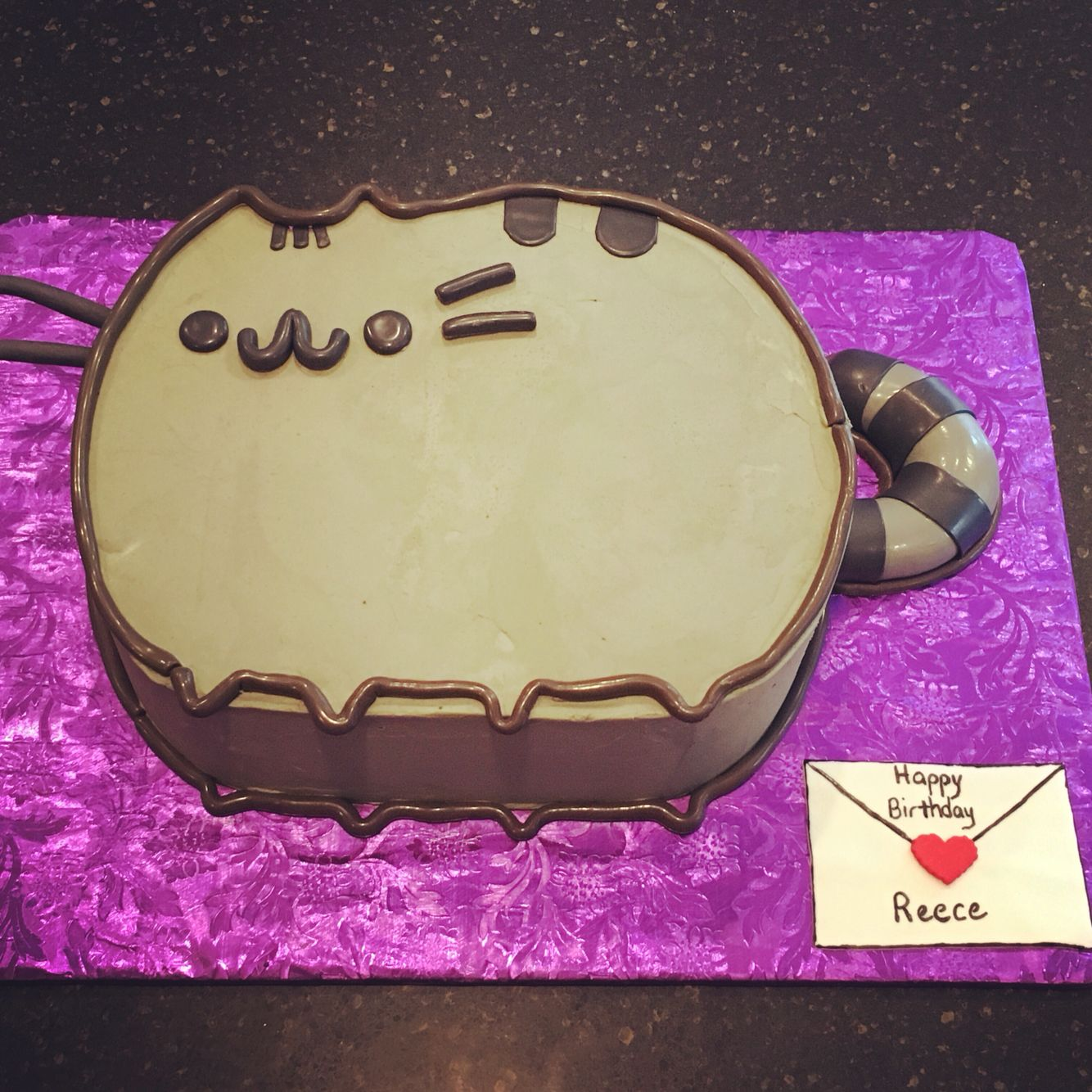 Pusheen Cat Cake Chocolate Chip With Mousse