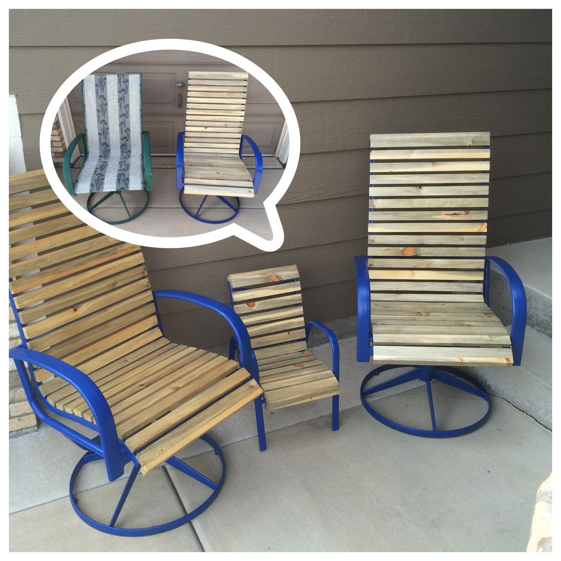 Old Torn Up Outdoor Chairs Refinished With Beetle Kill