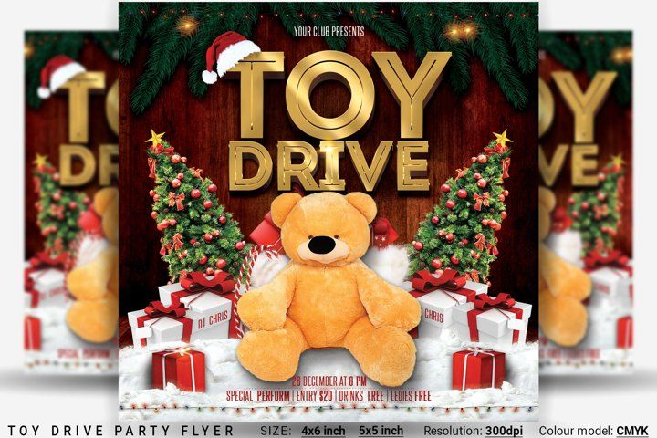 #christmas #toydrive #santa #holiday #charity #flyer #snow #winter #xmas #party