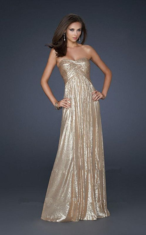 White And Gold Prom Dresses Strapless Shimmering long strapless ...