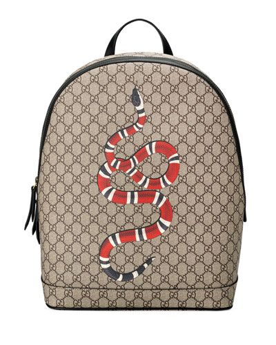 6c86ac62e22 GUCCI SNAKE-PRINT GG SUPREME BACKPACK.  gucci  bags  leather  lining  canvas   backpacks